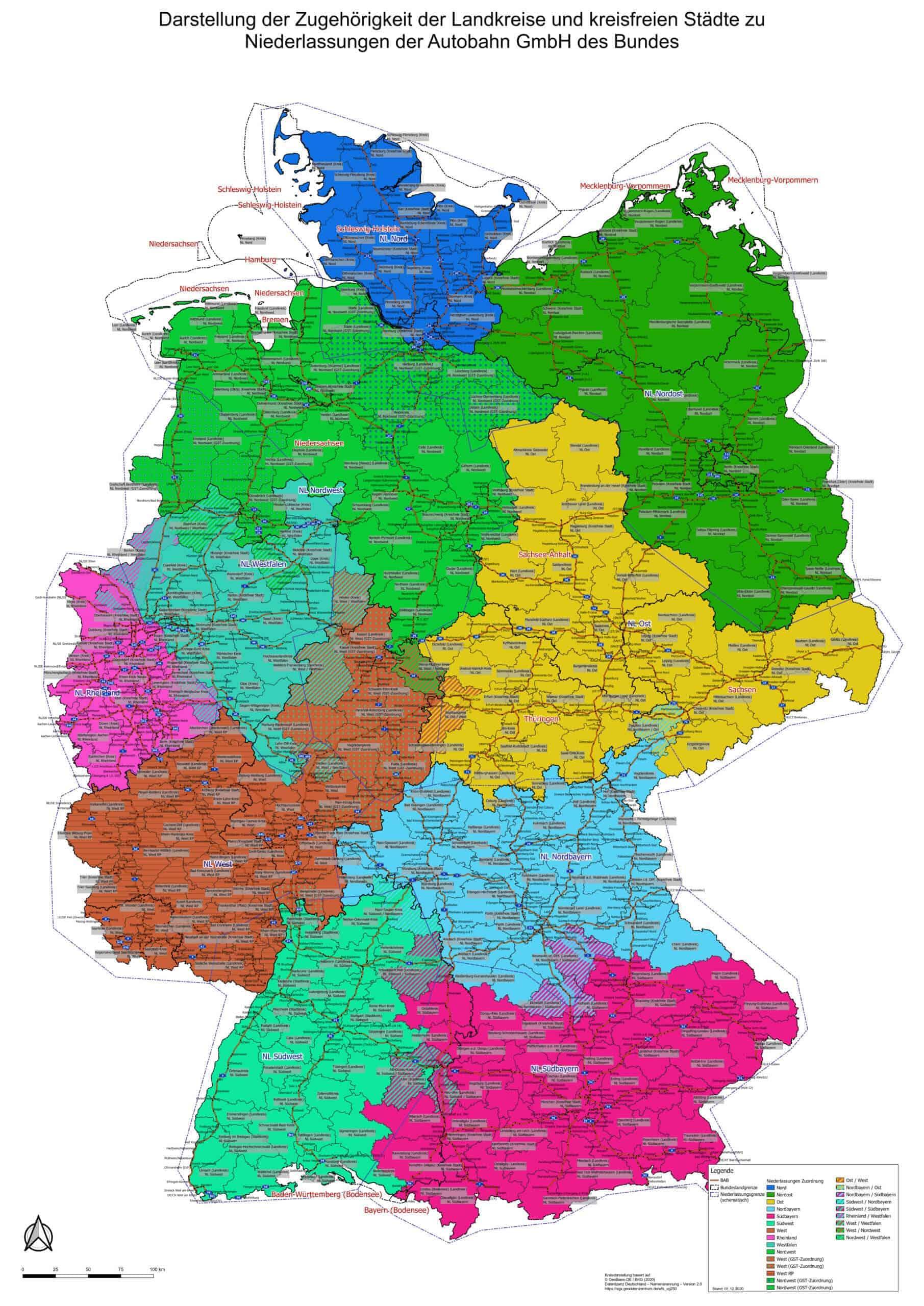 Darstellung der Zugehörigkeit der Autobahn GmbH